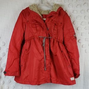 Odd Molly Red Tan Lining Hooded Coat size small.
